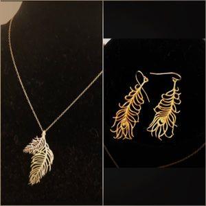 Gorjana Jewelry - Gorjana feather necklace and earrings